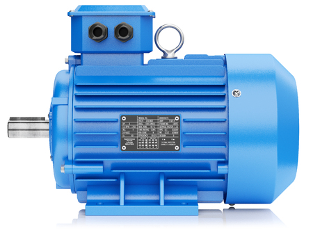 alternateur: moteur électrique bleu isolé sur fond blanc 3d Banque d'images