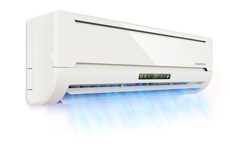 차가운 공기 흐름 에어컨 실내기 흰색 배경에 3 차원에 고립