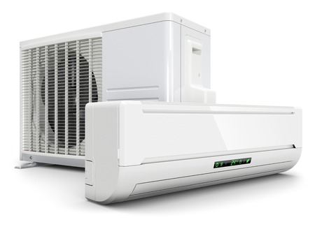 Airconditioning split systeem op een witte achtergrond 3D