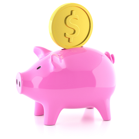 Piggy bank pink  and golden coin isolated on white background 3d Stock Photo