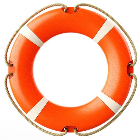 swimming belt: Red lifebuoy ring front isolated on white background 3d