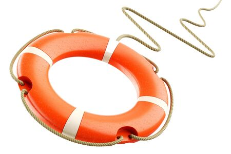 Red lifebuoy ring, rope isolated on white background 3d