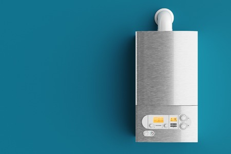 Huishoudelijke gas boiler op blauwe achtergrond 3d illustratie