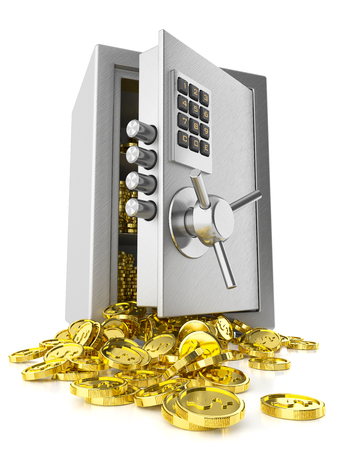 vault: Open safe door and stack coins isolated on white background 3d