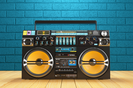 Musical tape player recoreder. Vintage radio FM player. 3d render 스톡 콘텐츠