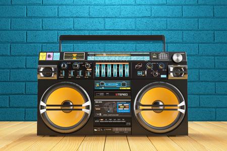 Musical tape player recoreder. Vintage radio FM player. 3d render Foto de archivo