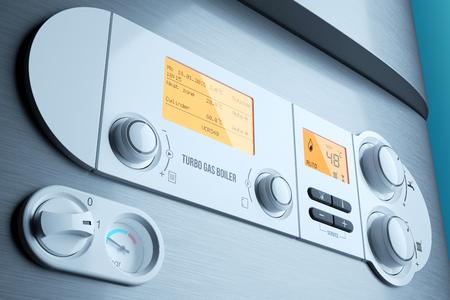 sistemas: Gas encendido caldera panel de control de cerca. Electrodoméstico. Ilustración 3d Foto de archivo