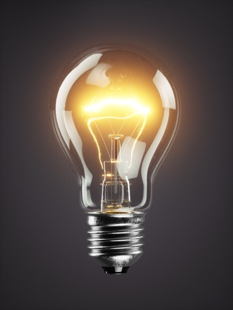 暗闇で光る電球ランプを低バック グラウンド 3d
