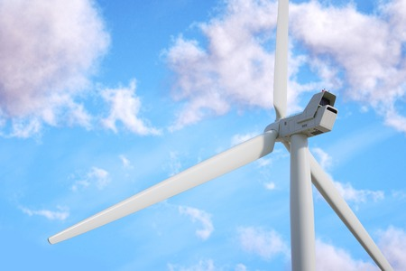 Wind turbine on sky background. 3d render