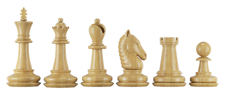 Set of chess figures in row isolated on white background 3d