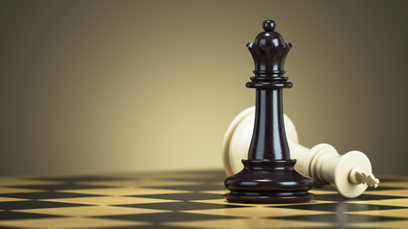 traitor: Defeat chess king from a black queen on a chessboard. 3d render Stock Photo