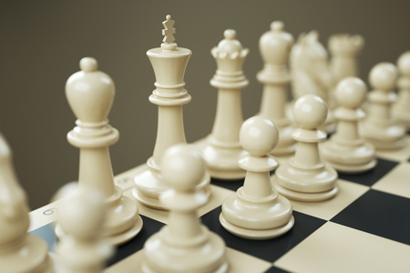 Set of white chess pieces on a chessboard close. 3d render Stock Photo