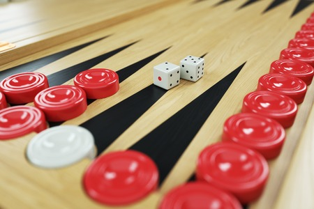 Backgammon game and dices on game board. Closeup. 3d render Stock Photo