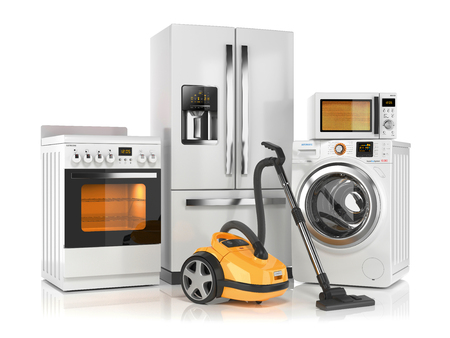 Set of home appliances. Refrigerator, washing machine, microwave oven, stove and vacuum cleaner isolated on white background. 3d render