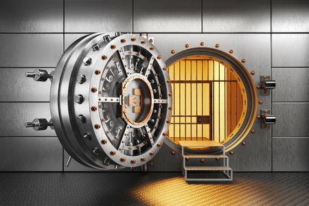 Vault bank door in storage room. 3d render