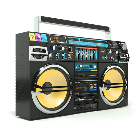grabadora: Urbano boombox grabadora 80s aisladas sobre fondo blanco 3d