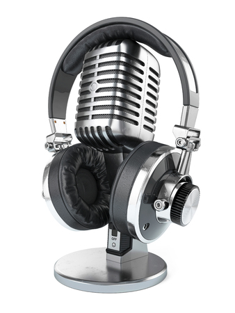 Retro studio microphone and headphones isolated on white background 3d Stock Photo
