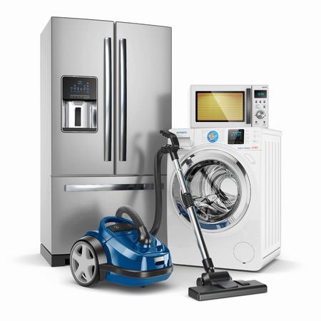 Set huishoudelijke apparaten. Geïsoleerd op witte achtergrond 3d