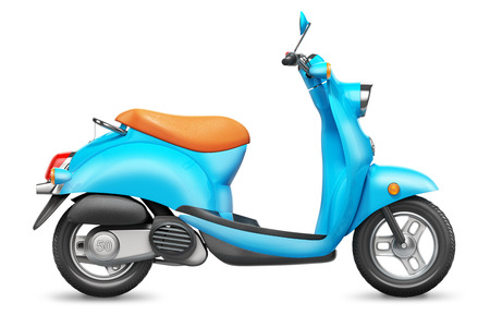 orthographic: Blue Italian scooter. Orthographic side view. Isolated on white background 3d