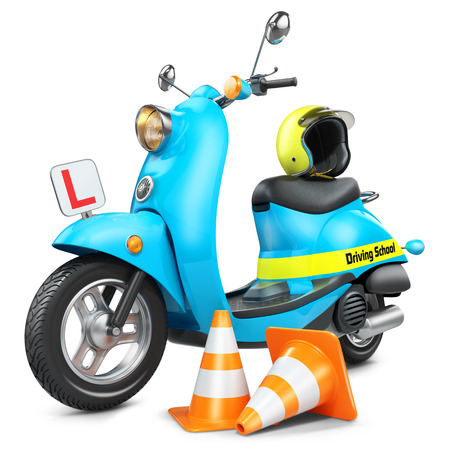 Driving school concept. Classic scooter, traffic cones and helmet. Isolated on white background 3d
