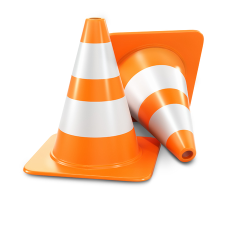 2 way: Two orange traffic cones isolated on white background 3d