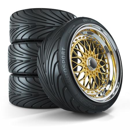 Set of custom wheels, chromed rims isolated on white background 3d