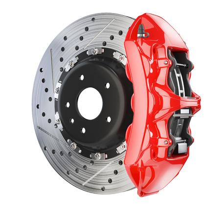 ブレーキ ディスクとキャリパーの赤。ブレーキ システムは、白で隔離 3 d の背景