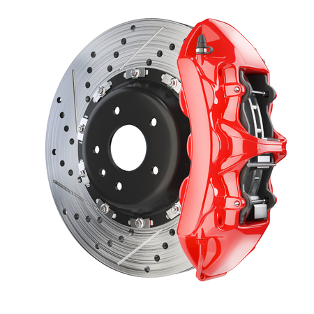 Brake disk and red caliper. Brakes system isolated on white background 3d Фото со стока - 74450847