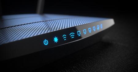 Wi-Fi wireless internet router on dark background 3d Stock Photo