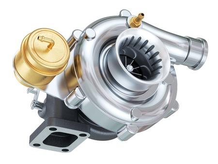 Autoturbocompressor. Auto-onderdelen. geïsoleerd op witte 3d achtergrond