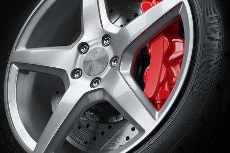 赤のホイール ブレーキ クローズ アップ 3 d