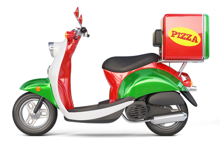 delivery pizza scooter in iatalian style isolated on white