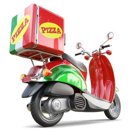Delivery pizza scooter in iatalian style isolated on white background 3d