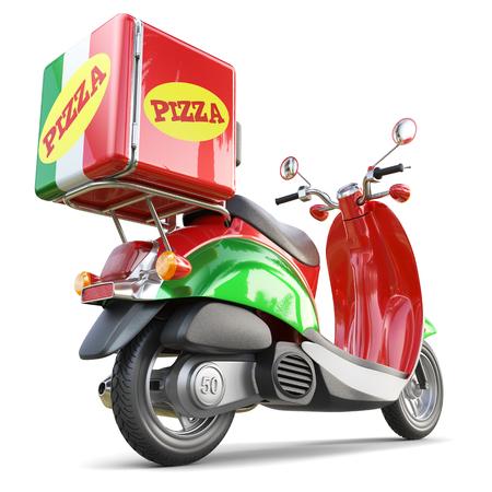 Scooter pizza di consegna in stile iatalian isolato su sfondo bianco 3d Archivio Fotografico - 79763534