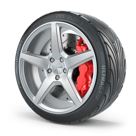 alloy wheel: Car wheel brakes system isolated white background 3d