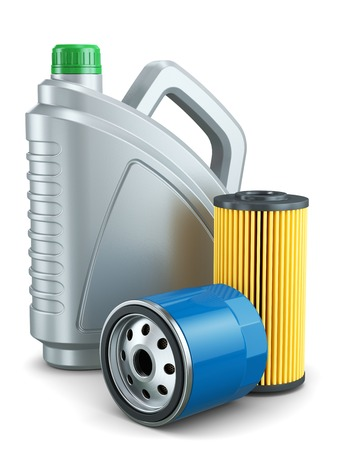 Car oil filters and motor oil plastic can isolated on white background 3d Stok Fotoğraf
