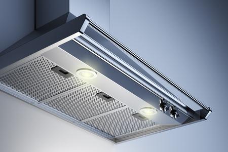 Okap kuchenny we wnętrzu z reflektorami. Renderowania 3D