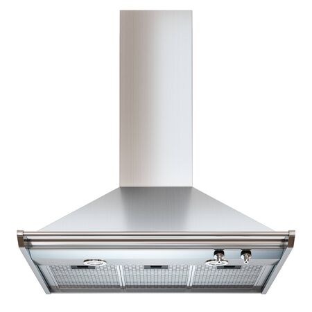 venting: Modern cooker hood. Front view. Isolated on white background 3d Stock Photo