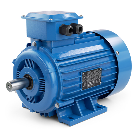Industrial electric motor blue isolated on white background 3d