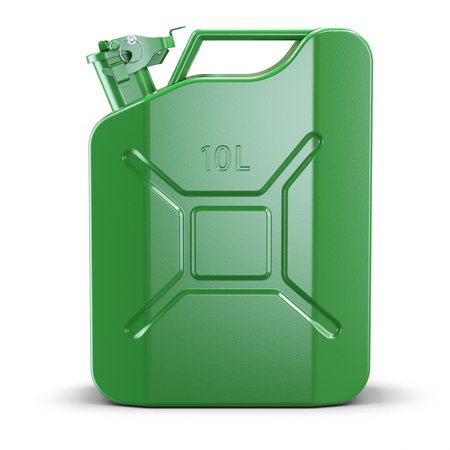 Green metal jerry can isolated on white background 3d