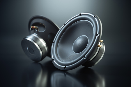 Two sound speakers on black background 3d render Archivio Fotografico