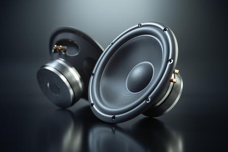 Two sound speakers on black background 3d render Stockfoto
