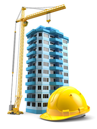 Construction tower crane, helmet and model house. Concept 3d