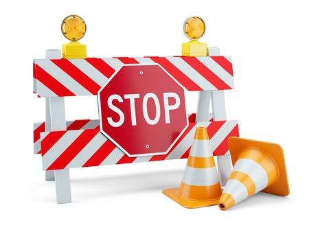 Road sign STOP on fence and traffic cones. 3d concept Stock Photo
