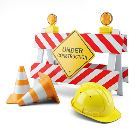 Under construction concept isolated on white background 3d