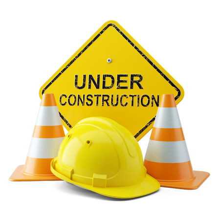 Yellow helmet, traffic cones and signboard under construction 3d Stock Photo