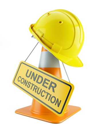 Construction helmet on traffic cone and signboard isolated on white background 3d