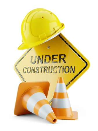 Safety helmet on signboard and traffic cones and under construction sign. 3d concept