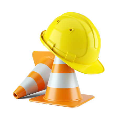 Construction helmet on traffic cones isolated on white background 3d