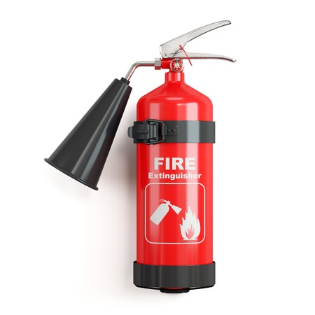 Industrial fire extinguisher on stand isolated on white background 3d